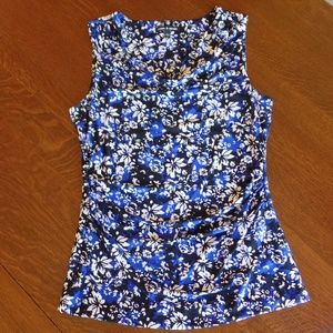 Cable & Gauge Sleeveless Ruched Cowl Neck Blouse L